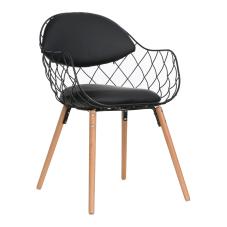 Orki Siyah Ahşap Ayaklı Sandalye