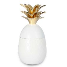 Beyaz Ananas Kapaklı Dekoratif Obje Orta Boy