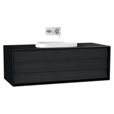 Frame Lavabo Dolabı 120 cm Tek Çekmeceli Tezgahüstü Tv-Shape Lavabolu Armatür Deliksiz Mat Soft Siyah