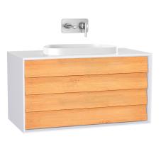 Frame Lavabo Dolabı 100 cm Çift Çekmeceli Tezgahüstü Tv-Shape Lavabolu, Armatür Deliksiz Mat Soft Beyaz