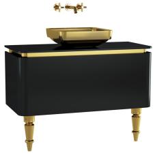 Gala Classic Lavabo Dolabı 100 cm Parlak Siyah Altın