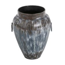 Lux Eskitme Mavi Oval Metal Vazo