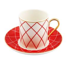 Style 6'lı Kırmızı Kareli Kahve Fincan Takımı