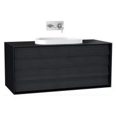 Frame Lavabo Dolabı 120 cm Çift Çekmeceli Tezgahüstü Tv-Shape Lavabolu Armatür Deliksiz Mat Soft Siyah