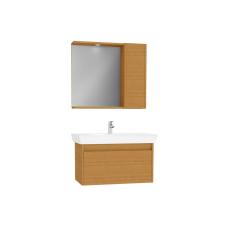 Demonte Set 85 cm Çekmeceli (Lavabo Dolabı Yandan Dolaplı Ayna) Tik