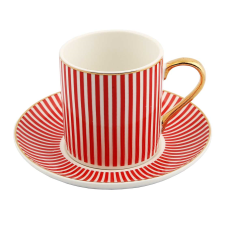 Style 6'lı Kırmızı Çizgili Kahve Fincan Takımı
