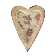 Şiva Çiçek Desenli Krem Dekoratif Kalp Küçük Boy