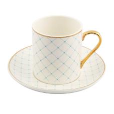 Style 6'lı Mavi Kareli Kahve Fincan Takımı