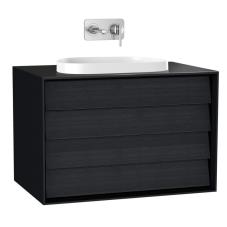 Frame Lavabo Dolabı 80 cm Çift Çekmeceli Tezgahüstü Tv-Shape Lavabolu Armatür Deliksiz Mat Soft Siyah