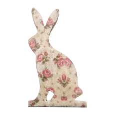 Şiva Çiçek Desenli Dekoratif Tavşan Küçük Boy Krem