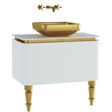 Gala Classic Lavabo Dolabı 80 cm Parlak Beyaz Altın