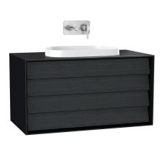 Frame Lavabo Dolabı 100 cm Çift Çekmeceli Tezgahüstü Tv-Shape Lavabolu Armatür Deliksiz Mat Soft Siyah