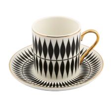 Style 6'lı Siyah Beyaz Kahve Fincan Takımı
