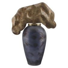 Rani Bronz Metal Yapraklı Vazo Küçük Boy