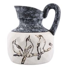 Soil Seramik Kuş Desenli Dekoratif Sürahi