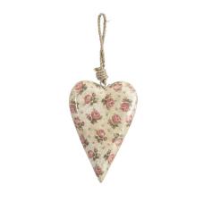 Şiva Çiçek Desenli Krem Kalp Orta Boy