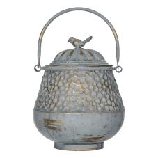 Sahara Bronz Metal Kuşlu Kapaklı Vazo