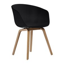 Gentle Siyah Ahşap Ayaklı Sandalye