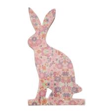 Şiva Çiçek Desenli Dekoratif Tavşan Büyük Boy Pembe
