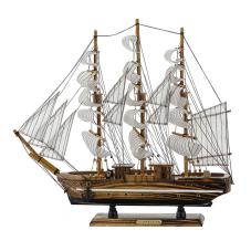 Beyaz Çizgili Yelkenli Ahşap Gemi Biblo