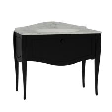 Elegance Lavabo Dolabı 100 cm Tezgahaltı Lavabolu Mermersiz, Krom Kulplu Mat Siyah