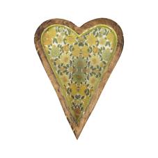 Şiva Çiçek Desenli Yeşil Dekoratif Kalp Büyük Boy
