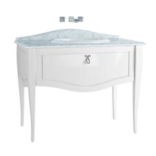 Elegance Lavabo Dolabı 100 cm Tezgahüstü Lavabolu Mermersiz, Krom Kulplu Mat Beyaz